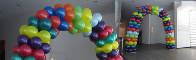 Multi-coloured balloon arch,  Auckland