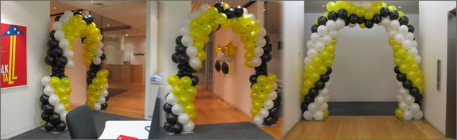 Yellow , black and white balloon arch, Auckland Party Hire