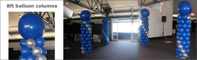 8ft tall balloon colimn with 3ft topper balloon