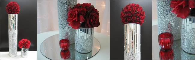 Red rose table centrepieces for hire, Auckland