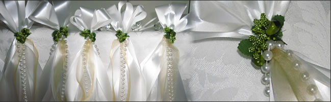 Pew bows for churches head tables and cake table