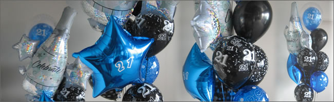 Send a 21st giant helium balloon bouquet