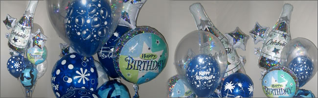 Happy Birthday balloon bouquet themed to blue