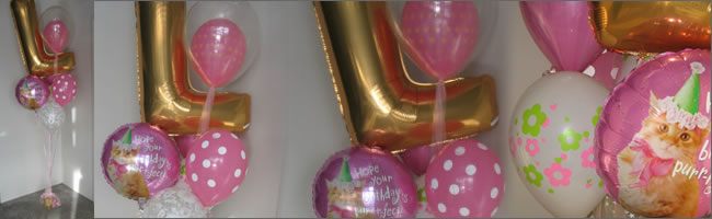 Giant L letter balloon bouquet in gold