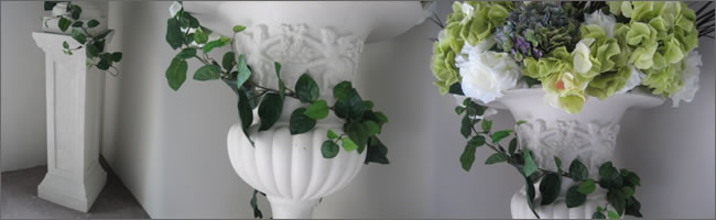 Floral arrangements for hire for urn and pillar arrangments