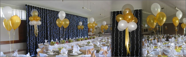Anniversary decorated with helium balloons 50th wedding anniversary