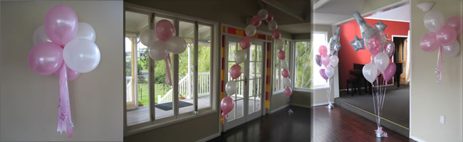 Balloon arch, balloon clusters and giant balloon bouquets