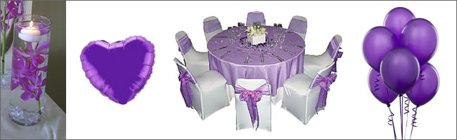 Purple wedding balloons and wedding decorations