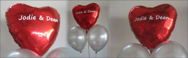 Personalised named balloon bouquets for weddings or events